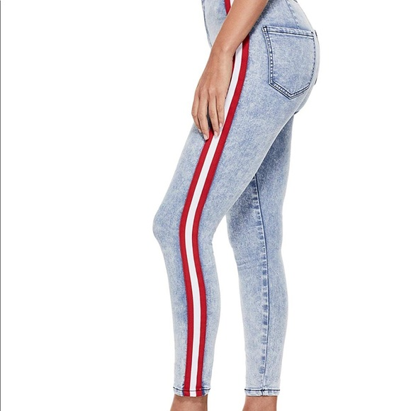 Guess High Rose Varsity Stripe Skinny Jeans